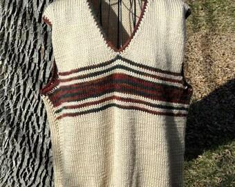 Pullover V Neck Vest for Men Hand Knit Beige  Brown Stripes