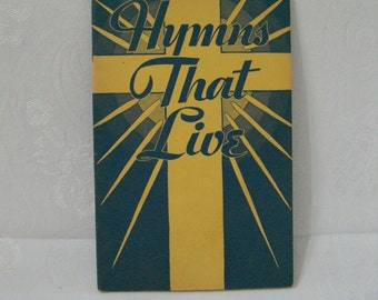 Church Music Hymnal, Hymns That Live Music Book, Vintage Christian Hymnal, Sheet Music, Paper Ephemera, Craft Supply