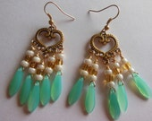 Sea foam daggers on gold chandelier earrings  E485