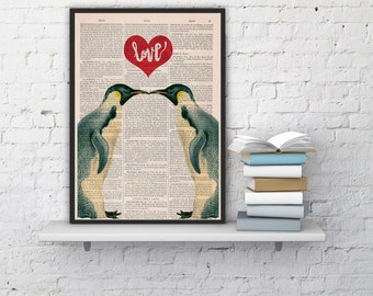 Summer Sale Penguins in love Penguins Red heart Printed on dictionary Book house decor, penguins poster print, wall love art ANI015