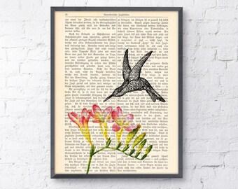 Summer Sale Vintage Book print Hummingbird on flowers Print on Vintage Book page ANI120