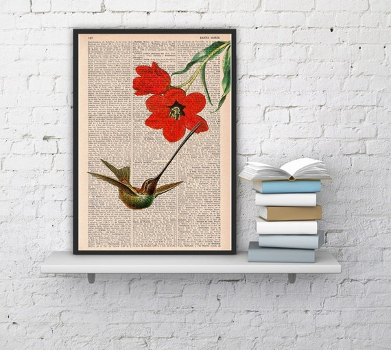 Hummingbird and the red tulip -book page print- nature forest wall art decor upcycled book sheet art ANI122