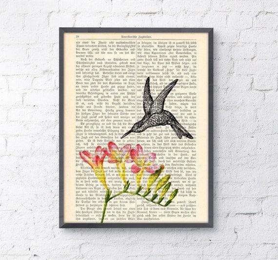 Spring Sale Vintage Book print Hummingbird on flowers Print on Vintage Book page BPAN120