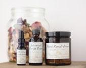 Botanical Facial Care Set, Organic Wild Carrot and Witch Hazel Toner, Herbal Rose Face Steam and Jojoba Facial Serum