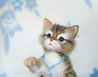 Kitten Prosha - real sized Needle Felted toy (MADE TO ORDER)