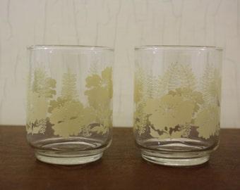 Vintage Set of 2 Juice Glasses w/ Cream Floral Pattern (E3931)