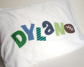 Personalized Name Football Pillow Case Applique Letters In Your Choice of Colors