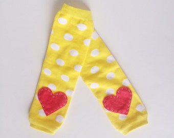 Yellow Polka Dotted Heart Baby Leg Warmers: Yellow and White with hot pink heart applique