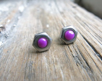 Purple Stud Post Earrings Stainless Steel Industrial Silver Color Stocking Suffer Unique Gift for Her Women Present Violet Modern Minimal