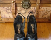 sALe 40's Peeptoe Platform Shoes Swing Era WWII Leather & Suede