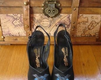 sALe 40's Peeptoe Platform Shoes Swing Era WWII Leather & Suede