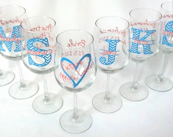7 Chevron monogram wine glasses.  Future mrs glass, bridesmaid glass, Wine glass with chevron monogram and name. Title and date on the back