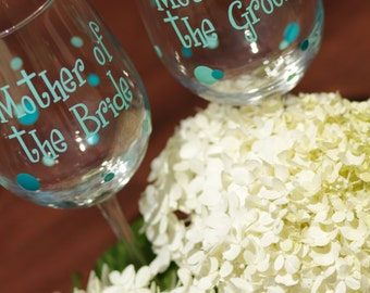 2 Mothers wine glasses, Mother of the Bride and Mother of the Groom polka dot wine glasses.  Mint, teal, blue, green, white. Wedding gifts