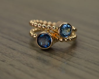 Blue Topaz Stack Rings, silver solid 14k gold london swiss duo - Carmine Rings