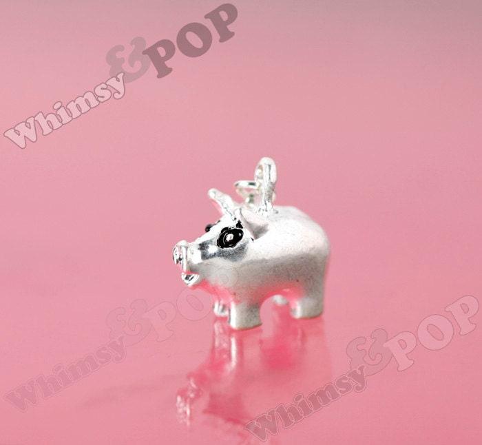 1 Silver Piggy Bank Rhinestone Charm Pink Pig Charm Piggy