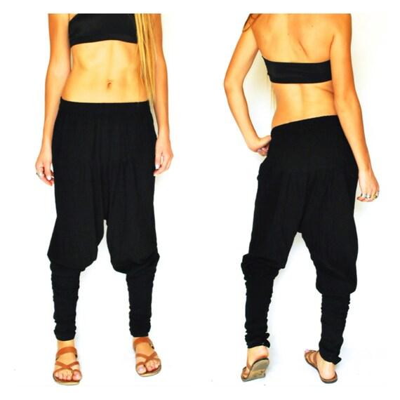black dhoti pants vintage harem india dance yoga hip hop