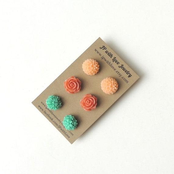 Stud earrings, Flower Stud earrings , peach earrings, teal earrings, - set of 3 post earrings