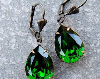 Moss Green Earrings Swarovski Crystal Earrings Green Pears Tear Drop Dangle Earrings Duchess Mashugana