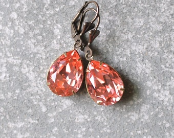 Peach Pink Earrings Swarovski Crystal Peachy Pink Watermelon Drop Earrings Duchess Pear Mashugana