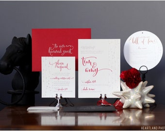As seen on Ruffled - Sparkled Ruby Wedding Invitation Suite Design ------- Deposit to get started