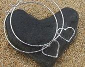 Sterling Silver Hoop Earrings, Heart Hoops, Hammered, Love, Anniversary, Bridal Wedding Jewelry, Handmade Maui, Christmas Gift Idea, Boho