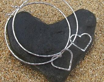 Sterling Silver Hoop Earrings, Heart Hoops, Hammered, Love, Anniversary, Bridal Wedding Jewelry, Handmade Maui,  Gift Idea, Boho