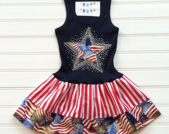Girls American Flag Dress Patriotic Red White Blue Dresses Custom Girls Dress Kids Clothing Available 0-3 months through Size 6/8