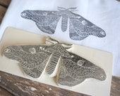 Butterfly Rubber Stamp, Hand Carved Stamp, Silkmoth Stamp,