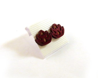 Lotus Flower Red Stained Maple Wooden Post Earrings - Sustainable Wood Ear Studs