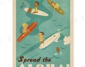 Spread the Aloha - 12 x 18 Retro Hawaii Surfing Print
