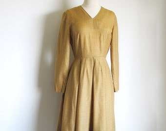 Vintage 50s Butterscotch Dress, Cotton Checkered Dress,1950 Long Sleeve Dress