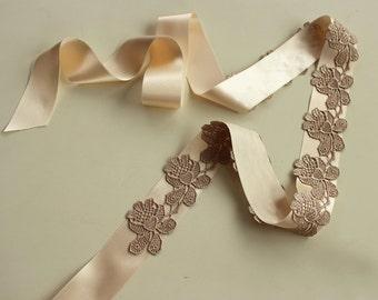 Embellished Bridal Sash Champagne Lace Shabby Chic Lacy Wedding Dress Belt, Satin Ribbon Sash, Brown Lace, Ecru,  Handmade.
