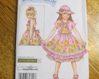 DAISY KINGDOM Girl's Halter Sundress, Bolero Jacket & Matching Hat - Size 3 - 4 - 5 - 6 - UNCUT Sewing Pattern Simplicity 3905