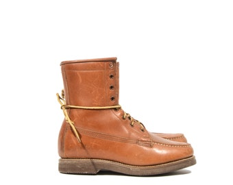 5 C | Women's Vintage G.H. Bass Field Trail Moc Toe Work Boots Brown Leather Hikers Brown Leather Lace Up Ankle Boots