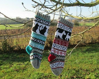Pattern Fair Isle Christmas Stockings Cat and Dog fair isle PDF pattern only