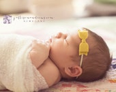 Mini Wool Felt Bow Headband in Light Mustard  - Newborn Baby to Adult - Hair Bows
