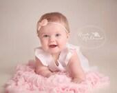 Chiffon Bow Headband or Hair Clip  in Light Peachy Pink - Skinny Elastic - Newborn Baby to Adult