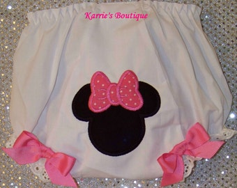 Minnie Mouse Diaper Cover / Disney / Pink / Black / Bloomer / Panty /  Mickey / Girly / Birthday / Custom Boutique Clothing