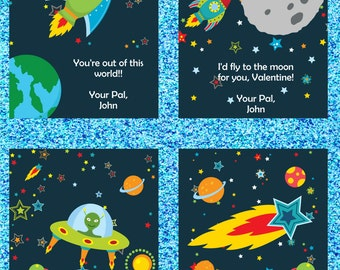 Outer Space Valentines Day Cards - Printable and Customizable