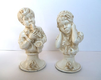 vintage 1971 boy and girl statues, boy sax player, girl covering ears, cream ivory, felt bottom, universal statuary, free u.s. shipping
