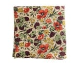 Retro Honesty leaves and poppy flower print pocket square