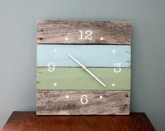 Pallet Wood Wall Clock. Sky Blue, Sage Green.  Numbers & Dots. Reclaimed wood.  Custom Colors.  Gift.  Housewarming.