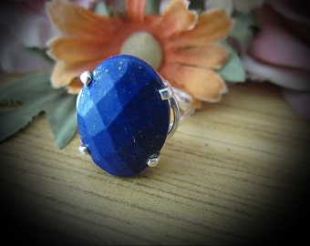 Faceted Authentic LAPIS LAZULI Set in 925 Sterling Silver (Stamped) Ring, Size 8
