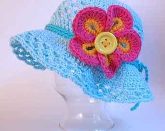 CROCHET PATTERN - Island Girl - crochet sun hat pattern w/ big flower (Infant, Baby, Toddler, and Child/Youth sizes) - Instant PDF Download