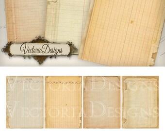 Ledger Ephemera ATC printable journal journaling craft art hobby crafting scrapbooking instant download digital collage sheet - VD0469