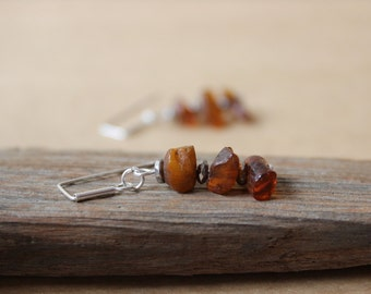 Baltic amber earrings / modern dangle earrings / silver earrings / raw amber