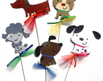 5 Puppy Dog Party Themed Centerpiece Sticks Set for a Birthday Party