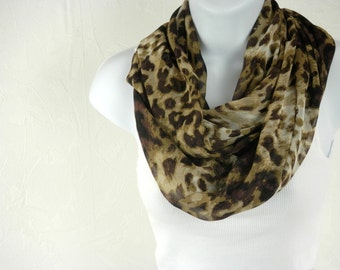 Light Weight Brown Animal Print Infinity Scarf in Sheer Chiffon by Thimbledoodle