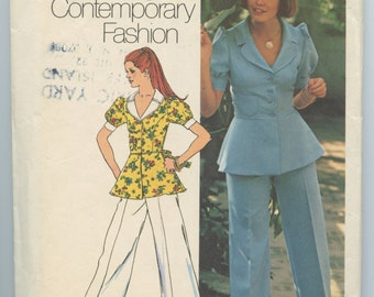 1970s Simplicity 5630 Misses Pantsuit Peplum Jacket Wide Legged Cuffed Pants Vintage Sewing Pattern Bust 36