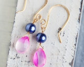 Pink Chalcedony Earrings, Purple Pearl, Semiprecious Earrings, Gold Dangle Jewelry, luscious